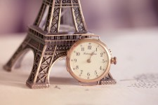 Eiffel Tower Miniature Golden Watch Table